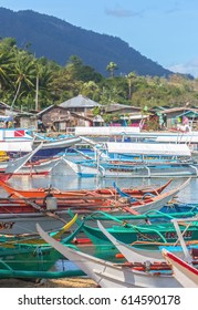 Puerto-Galera, Philippines - March 20, 2017: view on Balatero Cove bay fishermans village and boats