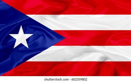 Puerto-Rico flag of silk-3D illustration
