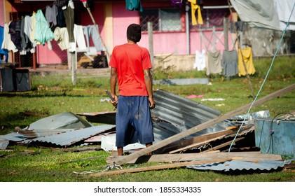 Puertos Cabezas, Nicaragua. November 7th 2020: People in rubble after Hurricane Eta Path.