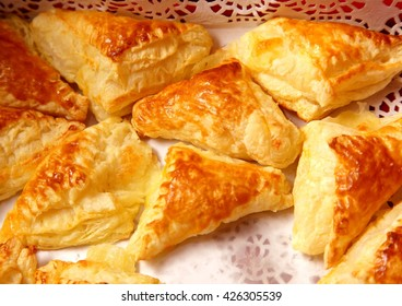 Puff cookies pastry apple turnovers food background