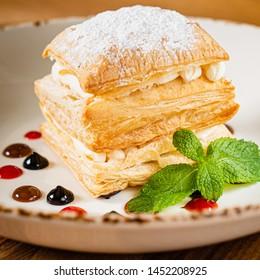 puff pastry cake with vanilla cream