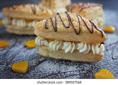 puff pastry hearts with cream and peaches