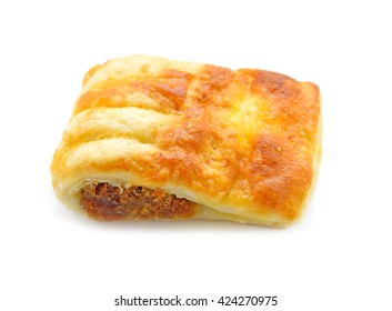 Puff pastry pie with dried shredded pork isolate on white background