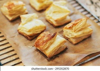 Puff pastry rolls. fresh sweet baking on papyrine