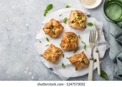 puff pastry stuffed with eggs and spinach, top view