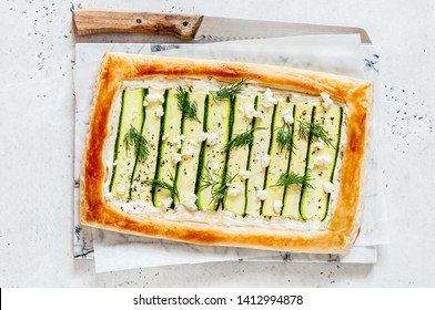 Puff Pastry Zucchini and Cheese Tart with Dill