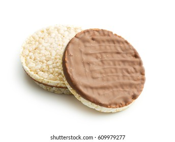 Puffed rice bread with chocolate isolated on white background.