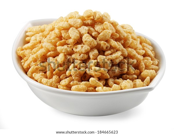 puffed rice cereal bowl isolated