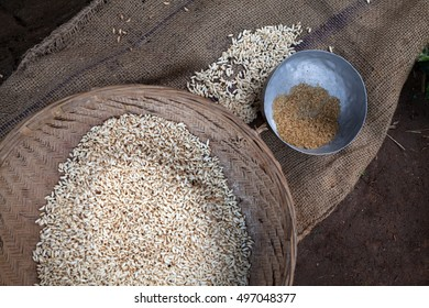 Puffed rice and rice in a processing workshop in rural India