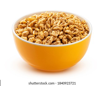 Puffed wheat cereal in yellow bowl on white background, honey air rice isolated with clipping path