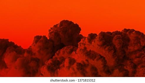 Puffy Dark Red Clouds