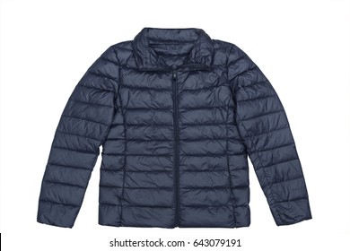 Puffy outdoor adventure jacket isolated on white background