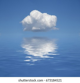 A puffy white cloud in a clear blue sky.