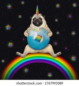 The pug dog unicorn is sitting on a rainbow and eating a blue glazed donut. Stars night background.