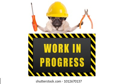 pug dog wearing yellow constructor safety helmet, holding pliers and screwdriver, with warning sign saying work in progress, isolated on white background