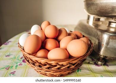 PUGLIA / ITALY -  AUGUST 2019: Fresh chicken eggs in a basket