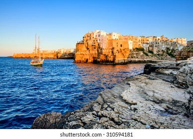 Puglia, Italy. Sunset scenery of Polignano a Mare, town in the province of Bari, Apulia, southern Italia on the Adriatic Sea
