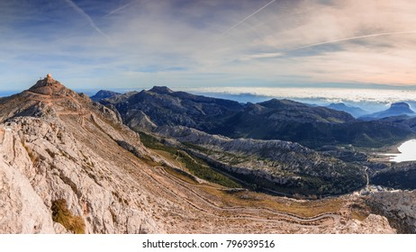 Puig Major peak and Serra de Tramuntana mountains aerial view panorama, Majorca Balearic Islands, Spain