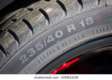 Puilboreau, France - August 7, 2016 : Close up of car wheel on which we can see the reference designating the type of tire and its width