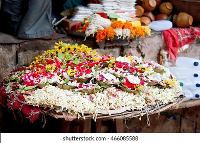 Puja flowers for aarti ritual. Puja flowers offering for the Ganges river in Varanasi, India.
