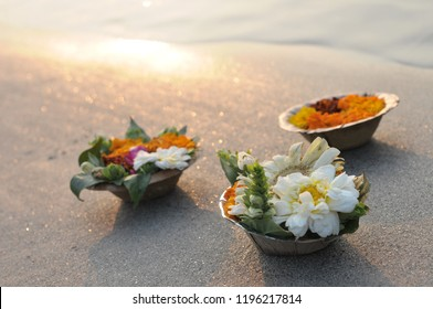 Puja flowers offering for the Ganges river in Rishikesh
