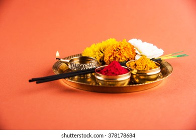 Puja or Pooja thali for worshipping God in Hindu religion