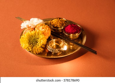Hindu puja images stock photos vectors shutterstock puja or pooja thali for worshipping god in hindu religion mightylinksfo