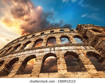 Pula amfitheater with dramatic sky