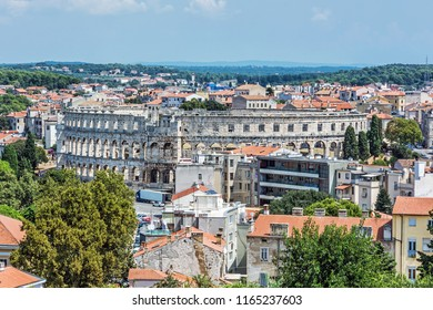 Pula Arena - ancient amphitheater located in Pula, Istria, Croatia. Travel destination. Famous object.