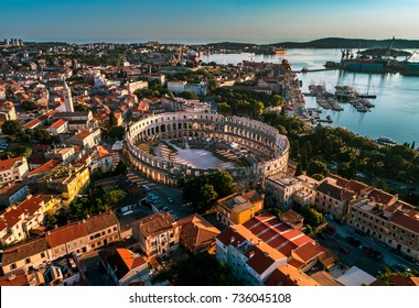 Pula Arena in Croatia - aerial view taken by a professional drone