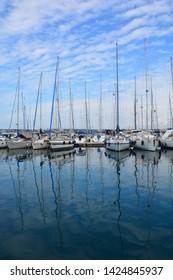 PULA CROATIA 05 21 2019: ACI Marina Pula right in the heart of Pula then it is a real city marina. Mega-yachts of up to 25 m long can moor in the marina.