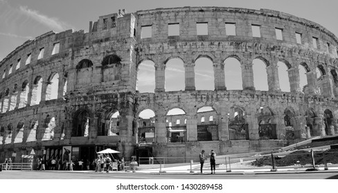 PULA CROATIA 05 24 2019: The Pula Arena is the famous Roman amphitheater in Pula, Istria, Croatia, Europe. It was constructed in 27 BC–68 AD.