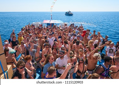 Pula, Croatia 2016 Sep 4 Young people enjoying their time at Outlook Festival boat party