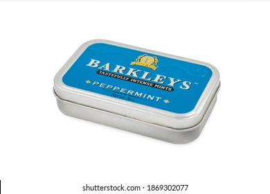 PULA, CROATIA - DECEMBER 6, 2020: A box of Barkleys peppermint candy made of Tuttle and Company reputed manufacturer in confections with a wide range of mint products.