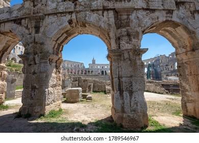 Pula, Croatia - July 10 2020 :Roman Arena in centre of Pula Croatia
