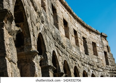 Pula, Croatia - June 10, 2019: Roman amphitheater in Pula, the best preserved ancient monument in Croatia, visited by hundreds of tourists.