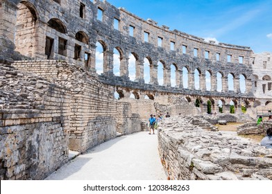 Pula, Croatia - June 18, 2014: Ancient stone masonry corridors in Pula Arena. The most famous and important monument in Pula, popularly called the Arena of Pula, the site of gladiator fights.