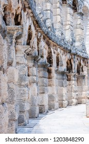 Pula, Croatia - June 18, 2014: Stone arc columns rows in Pula Arena. The most famous and important monument in Pula, popularly called the Arena of Pula, which was once the site of gladiator fights