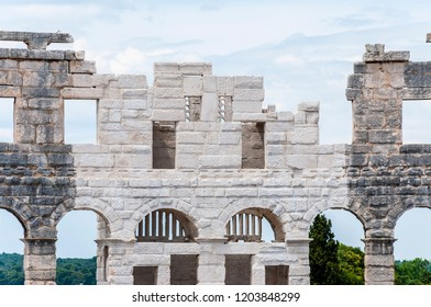 Pula, Croatia - June 18, 2014: New reconstructed facade wall in Pula Arena. The most famous monument in Pula popularly called the Arena of Pula which was once the site of gladiator fights