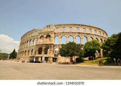 Pula, Croatia - june 2, 2018 : the ancient Roman Arena, a 1st-century amphitheatre - Pula, Croatia - june2, 2018