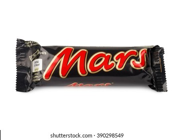 PULA, CROATIA - MARCH 13, 2016: Mars chocolate bar isolated on white background. Mars bars are produced by Mars Incorporated. The first Mars bar was produced in England in 1932