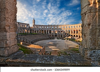 Pula, Croatia - March 26: the ancient Roman Arena, a 1st-century amphitheatre very well preserved. Photo taken on March 26, 2018 in Pula, Istria, Croatia