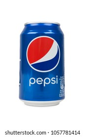 PULA, CROATIA - MARCH 8, 2018: Pepsi tin can 0.33 L isolated on white background. Pepsi is carbonated soft drink, produced and manufactured by PepsiCo.