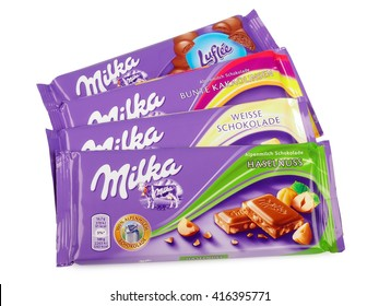PULA, CROATIA - MAY 1, 2016: Studio shot of a Swiss Milka Chocolate, manufactured by Mondelez International.
