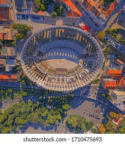 PULA, CROATIA - SEPTEMBER 13, 2019: Aerial stiched panorama of Arena an ancient Roman amphitheater - Old town Pula, Istra region, Croatia.
