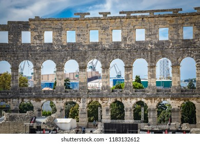 PULA, CROATIA - SEPTEMBER 17: Ancient Pula Arena on 17th September 2016 in Pula, Croatia.