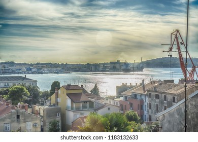 PULA, CROATIA - SEPTEMBER 17: Ship and harbour in Pula bay on 17th September 2016 in Pula, Croatia.