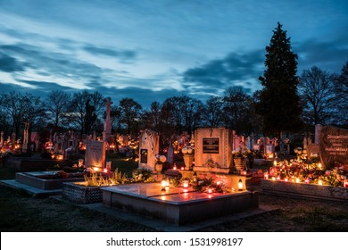 PULA HUNGARY - 11. 01.2018. All saint's day in the Cemetery of Pula in Hungary 11. 01.2018