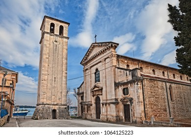 Pula, Istria, Croatia: the ancient cathedral and the bell and clock tower in front of the port