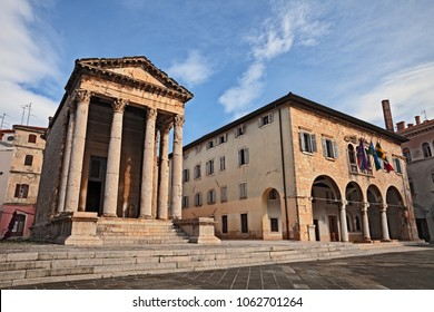 Pula, Istria, Croatia: the ancient Roman Temple of Augustus and the town hall in the downtown of the city